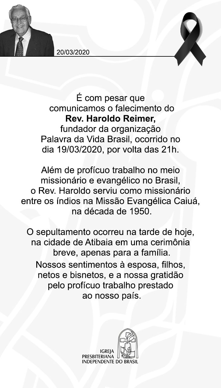 FALECIMENTO DO REV. HAROLDO REIMER